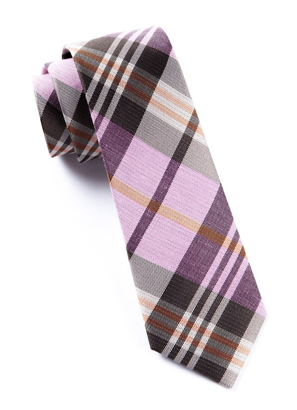 Crystal Wave Plaid Pink Tie