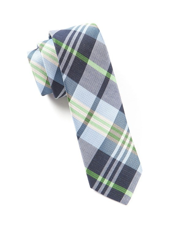 Crystal Wave Plaid Navy Tie