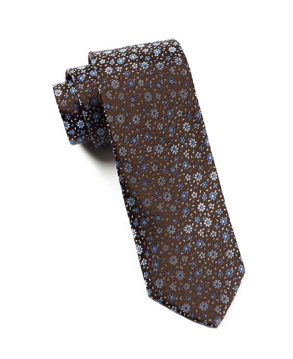 Milligan Flowers Chocolate Brown Tie