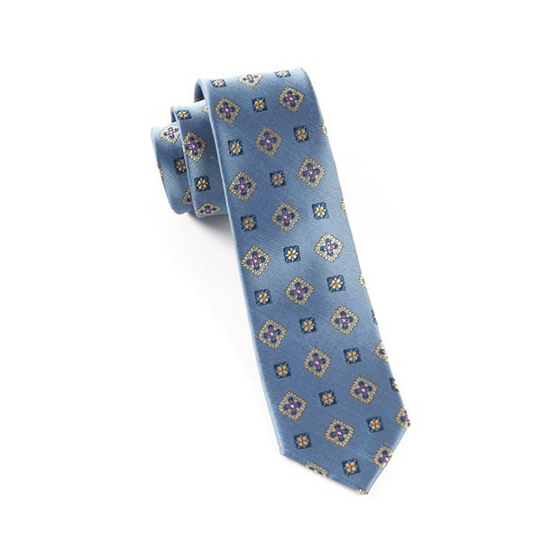 Excalibur Medallion Slate Blue Tie