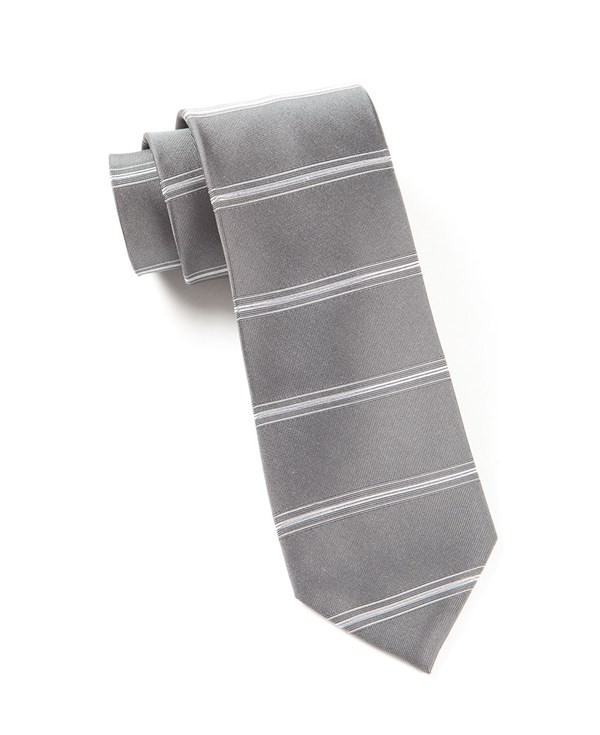 Ripon Horizontal Stripe Grey Tie