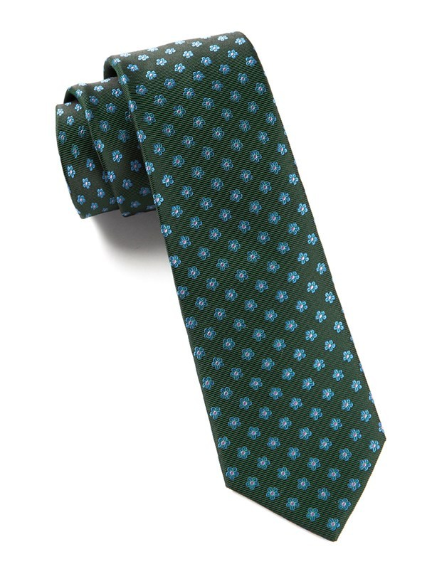 Anemones Hunter Green Tie