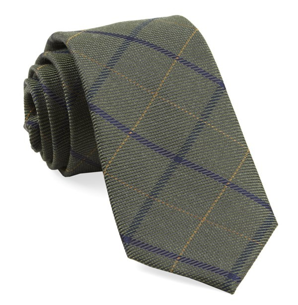 Sheridan Plaid Army Green Tie