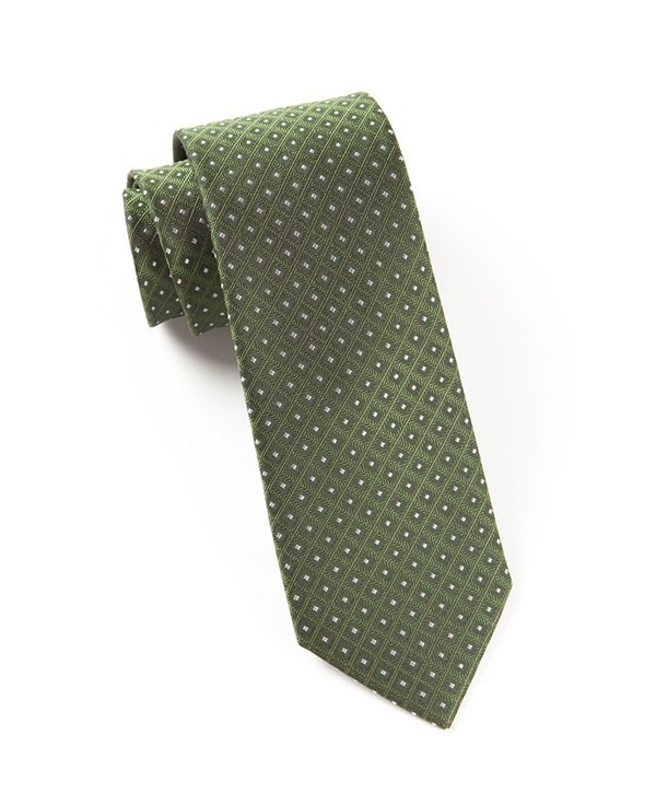 Wacker Drive Checks Dark Clover Green Tie