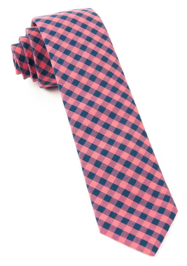 Gingham Shade Salmon Pink Tie