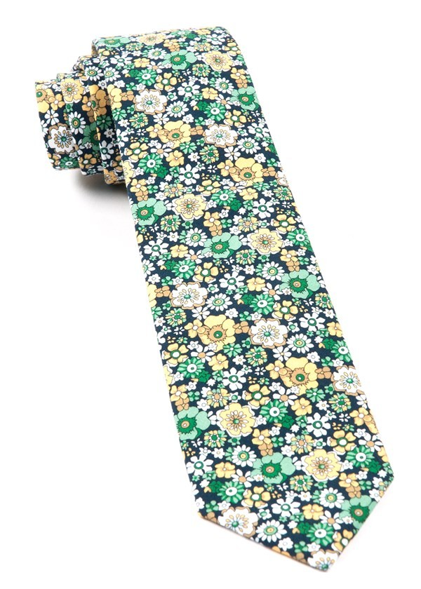 Floral Level Navy Tie