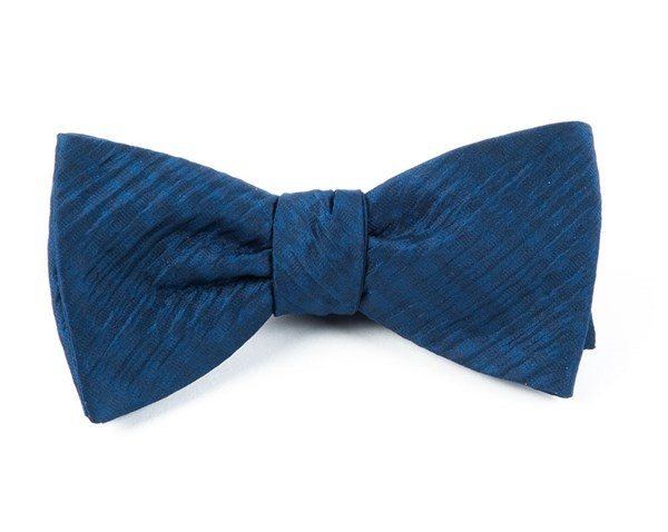 Silk Seersucker Solid Navy Bow Tie
