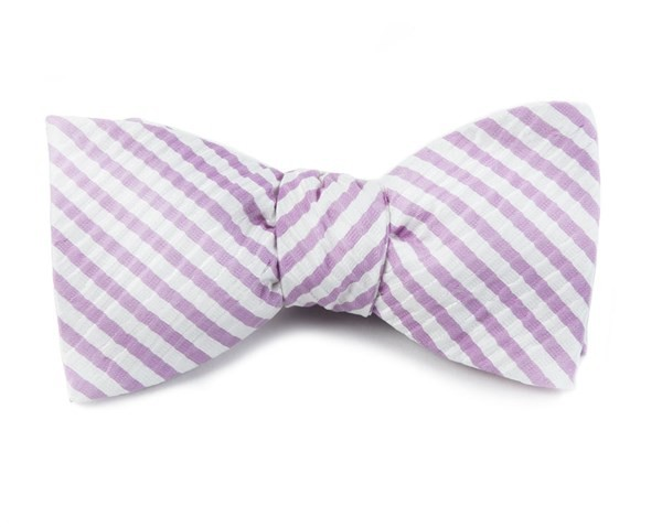 Silk Seersucker Stripe Orchid Bow Tie