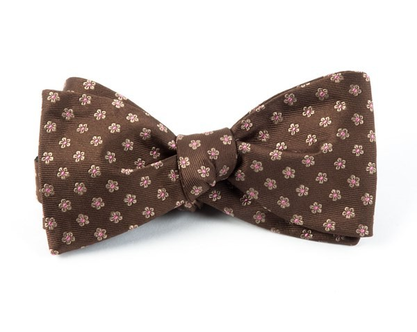Anemones Chocolate Brown Bow Tie