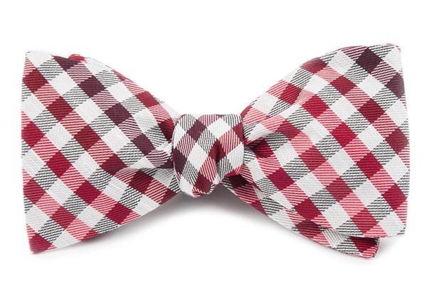 Gibson Check Red Bow Tie