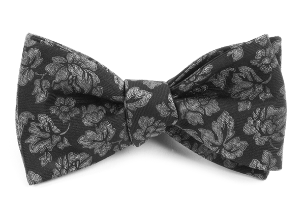Intellect Floral Black Bow Tie