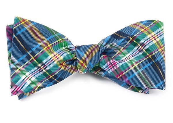 Corrigan Plaid Periwinkle Bow Tie