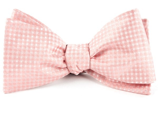 Be Married Checks Blush Pink Bow Tie