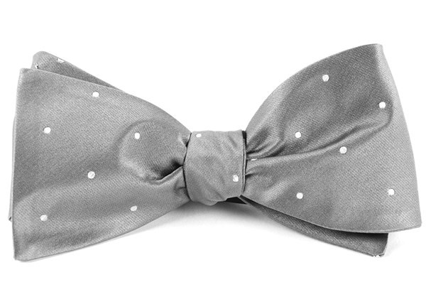 Satin Dot Silver Bow Tie