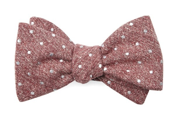 Knotted Dots Raspberry Bow Tie