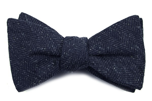 Threaded Zig-Zag Navy Bow Tie