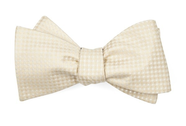 Be Married Checks Light Champagne Bow Tie
