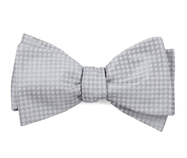 Be Married Checks Silver Bow Tie