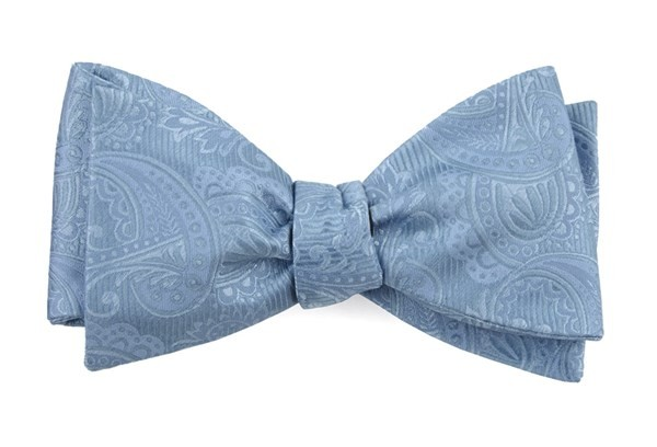 Twill Paisley Steel Blue Bow Tie