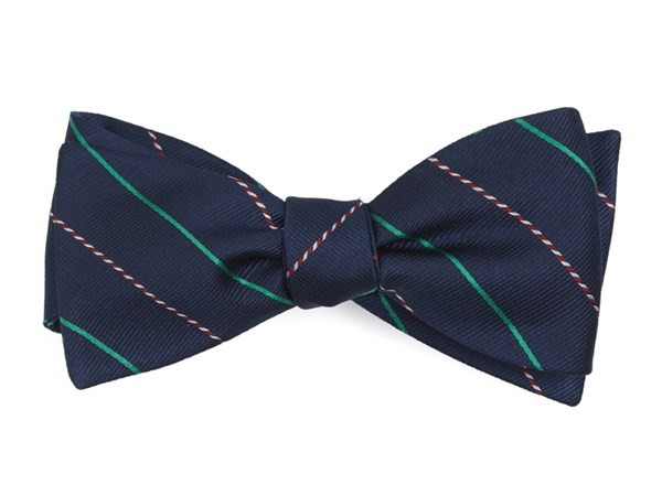 Candy Cane Stripe Navy Bow Tie