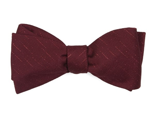 Solid Trace Burgundy Bow Tie