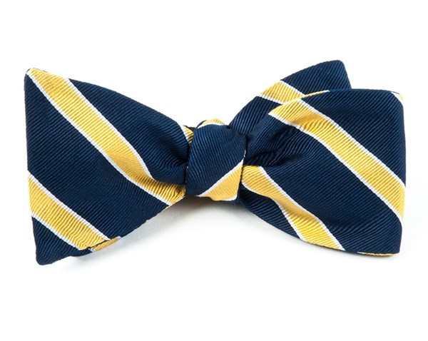 Honor Stripe Navy Bow Tie