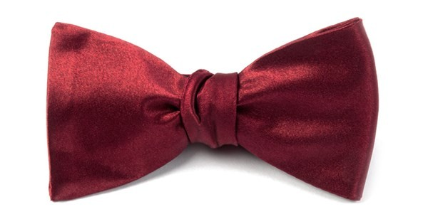 Solid Satin Burgundy Bow Tie