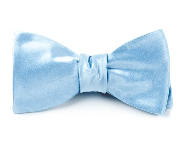 Solid Satin Baby Blue Bow Tie