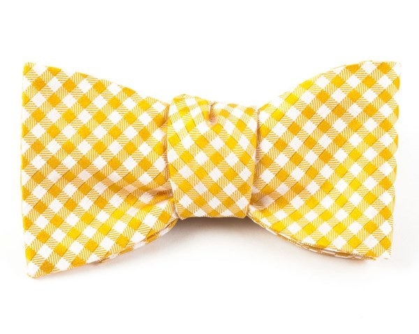 Checked Out Yellow Gold Bow Tie
