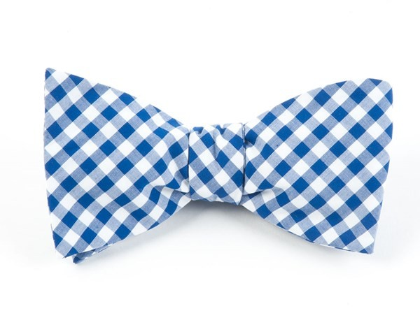 New Gingham Royal Blue Bow Tie
