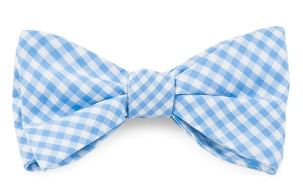 Novel Gingham Sky Bow Tie
