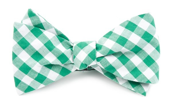 Classic Gingham Kelly Green Bow Tie