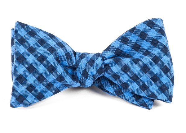 Gingham Shade Light Blue Bow Tie
