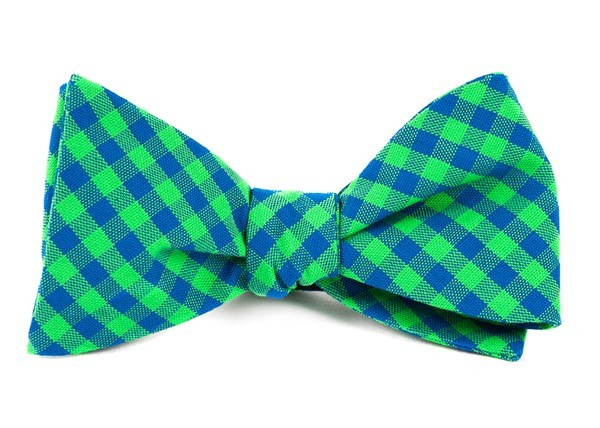 Gingham Shade Apple Green Bow Tie