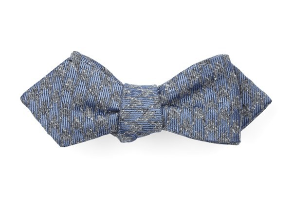 Houndstooth Thrill Slate Blue Bow Tie