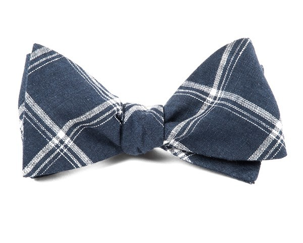 Jet Plaid Navy Bow Tie