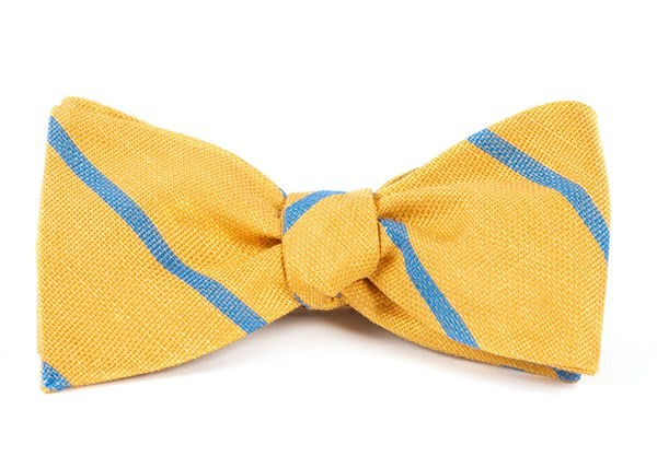 Spring Break Stripe Yellow Gold Bow Tie