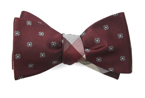 Floral Pitch Burgundy Bow Tie
