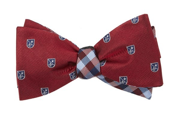 First String Plaid Red Bow Tie