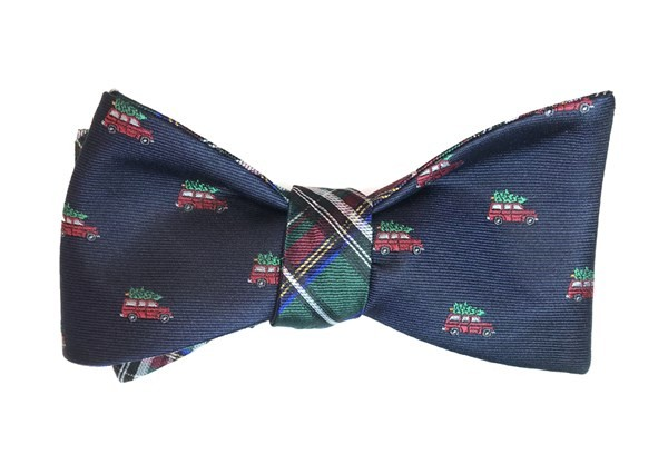 Christmas Vacation Plaid Navy Bow Tie