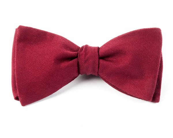 Solid Wool Burgundy Bow Tie