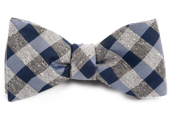 Splattered Gingham Navy Bow Tie