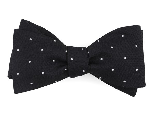 Dotted Report Black Bow Tie