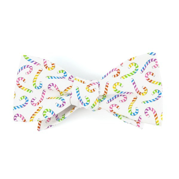 Rainbow Candy Cane White Bow Tie