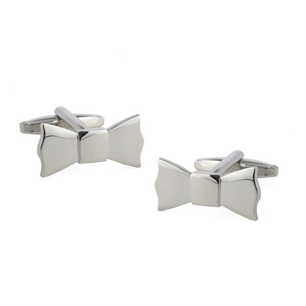 Bow Tied Silver Cufflinks