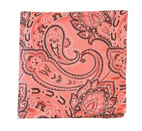 Aaron Paisley Coral Pocket Square