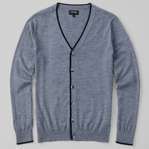 Perfect Tipped Merino Wool Cardigan Heather Grey Sweater