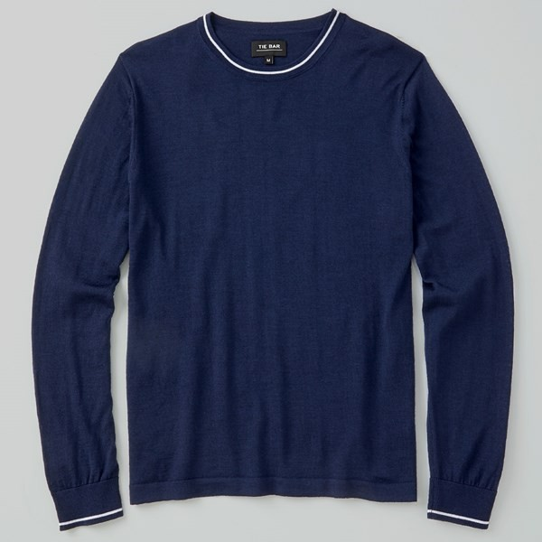 Perfect Tipped Merino Wool Crewneck Navy Sweater
