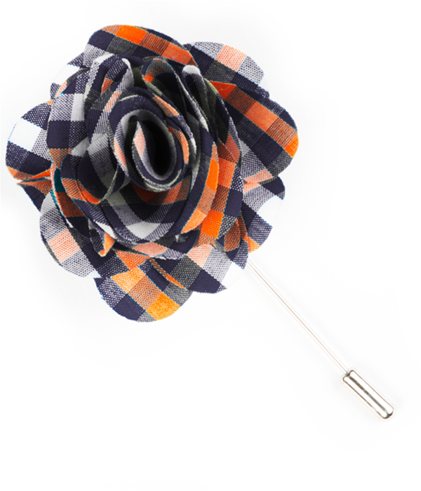 Sound Plaid Navy Lapel Flower