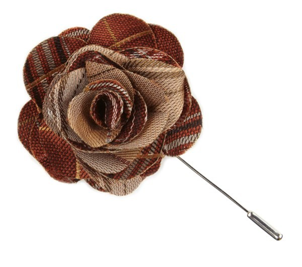 Marshall Plaid Burnt Orange Lapel Flower Pin